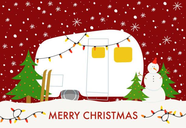 stockillustraties, clipart, cartoons en iconen met kerst kamp - caravan