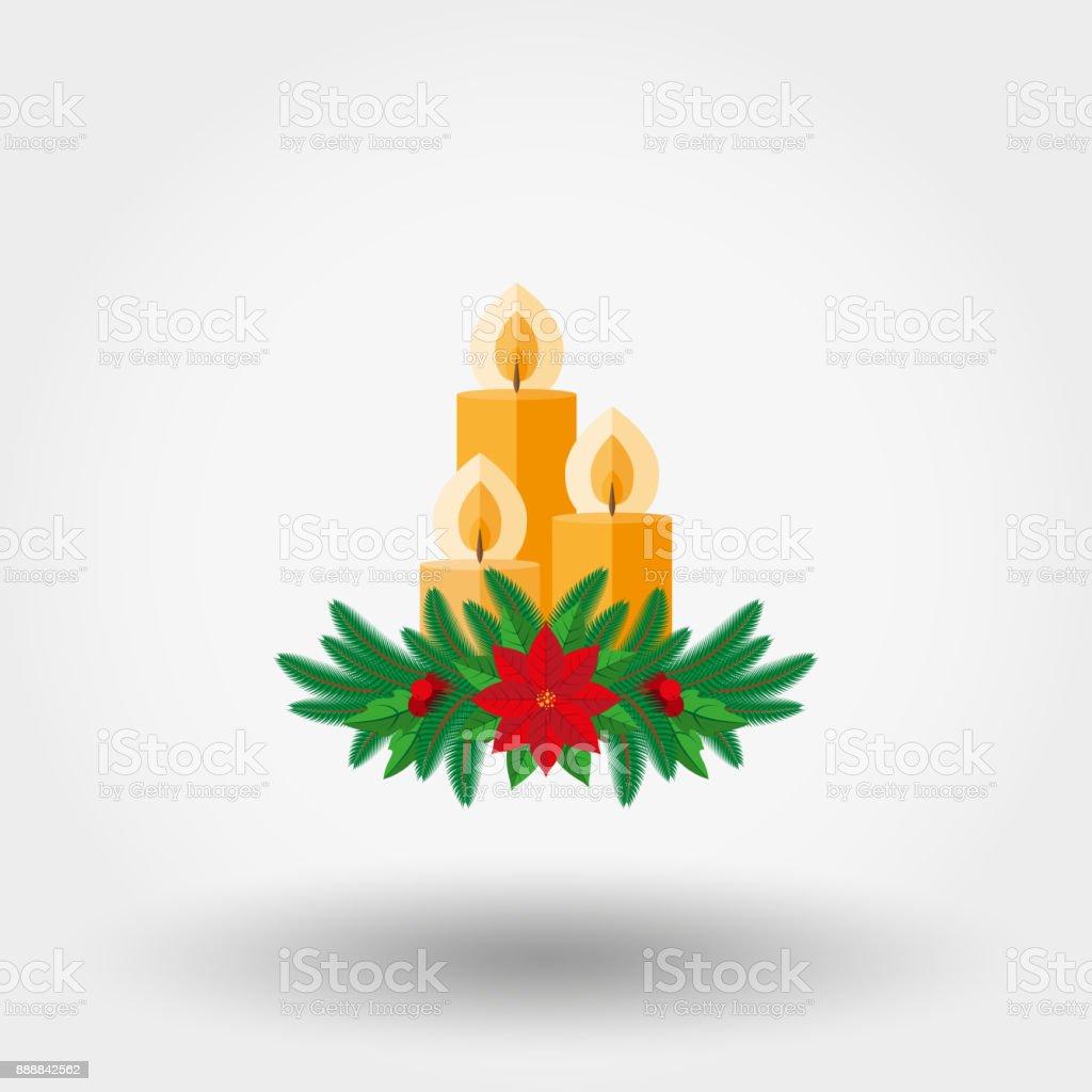 モミの小枝で飾られたクリスマス キャンドル ポインセチアやヒイラギの果実 ベクターアートイラスト