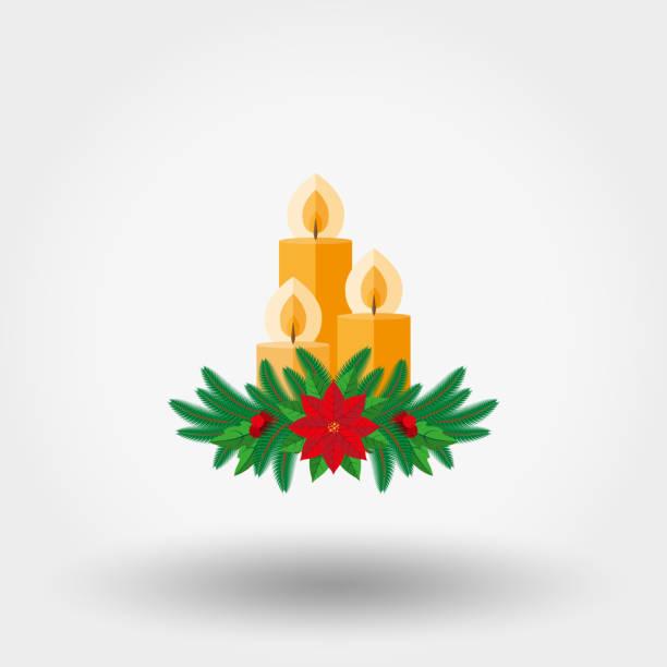 ilustrações, clipart, desenhos animados e ícones de vela de natal decorada com galhos de pinheiro, poinsétia e holly berry - advento