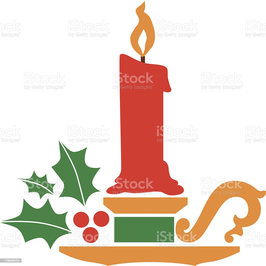 Christmas candle holder vector art illustration