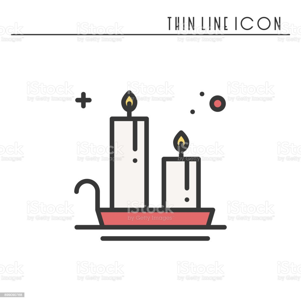 Christmas Candle Line Outline Icon New Year Two Burning
