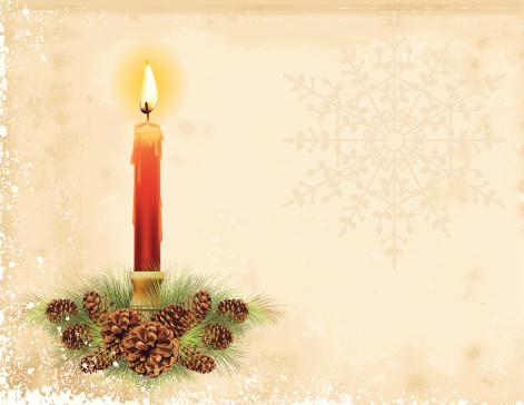 Christmas Candle On Parchment Background