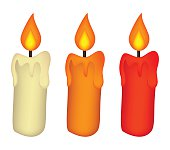 Christmas candle set, burning wax candle icon, symbol, design.