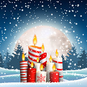 Christmas candles in winter snowy landscape, with big shinny moon and night forest in background, vector illustration, eps 10 with transparency