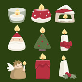 Cartoon Christmas candle Set. Vector Illustration collection.