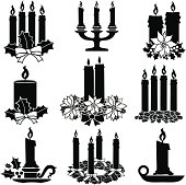 Vector icons of various Christmas candles.