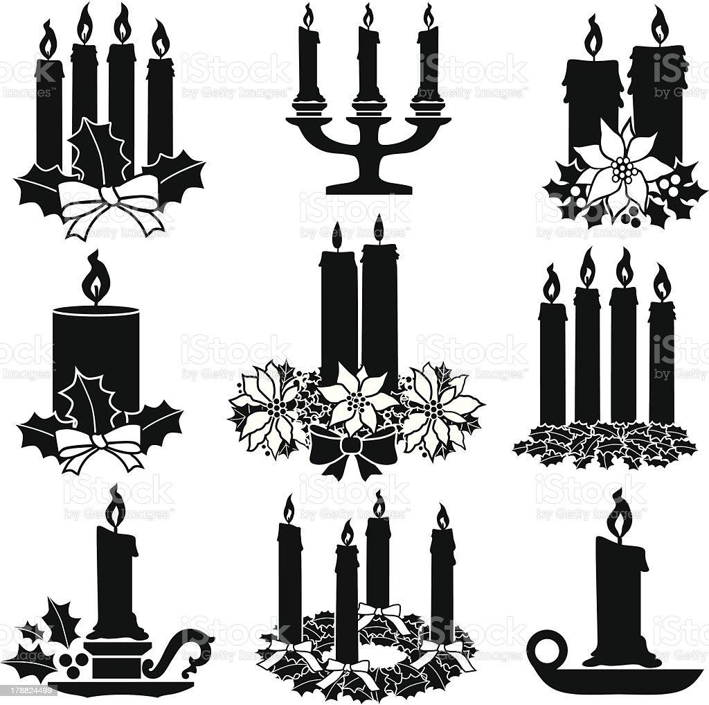 Christmas candles vector art illustration