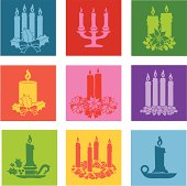 Vector icons of Christmas candles.