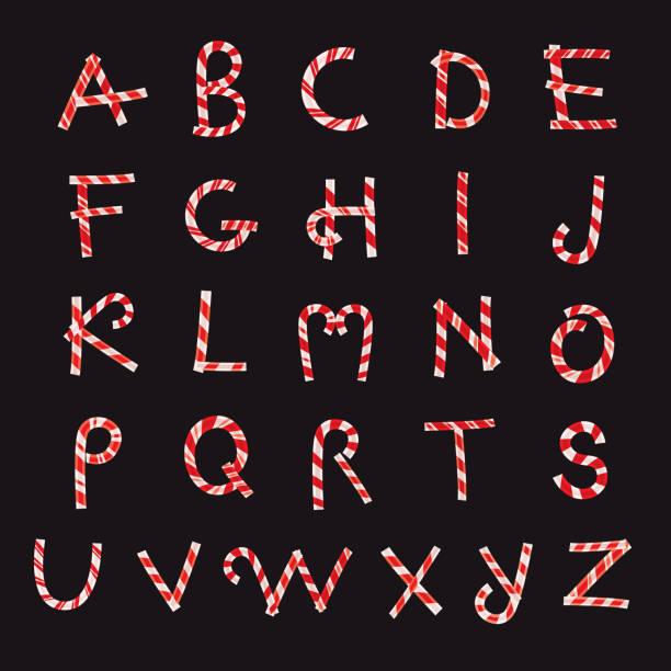 Christmas Candy Alphabet vector art illustration