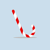 Christmas candy cane Decorative bright candy Striped sweet stick of the reed for New Year and Christmas Holiday sweet gift Flat design element decoration dessert food isolated Vintage Vector image