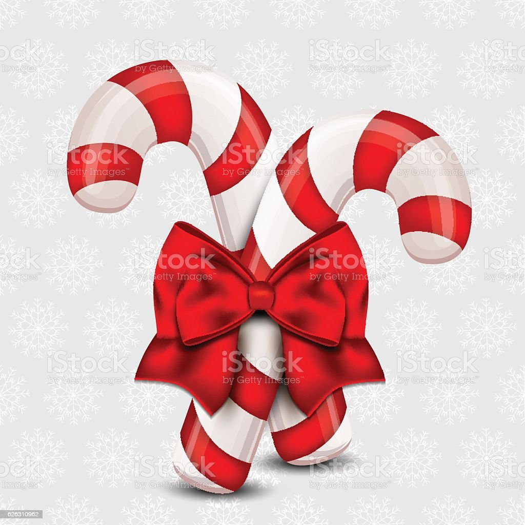 Christmas Candy Cane on a holiday background vector art illustration