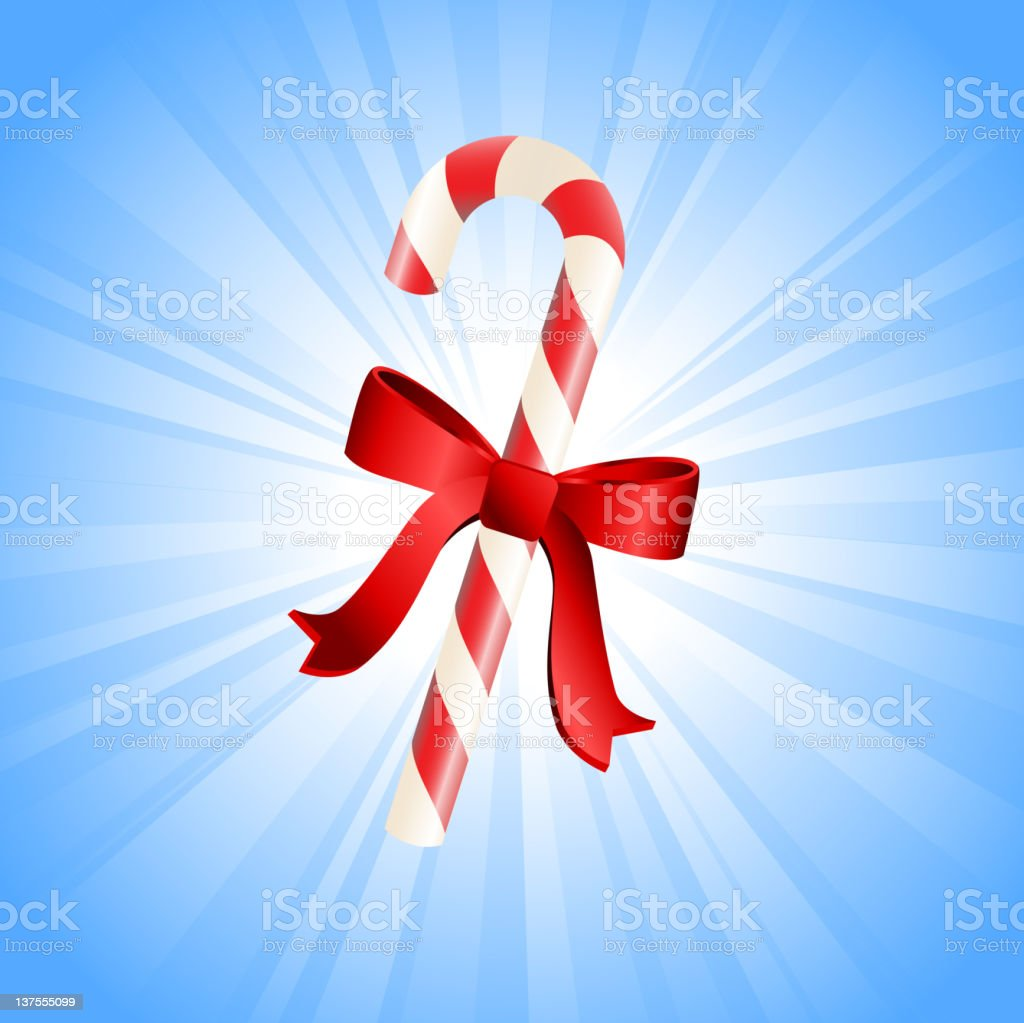 Christmas candy cane on glowing blue Background royalty-free stock vector art