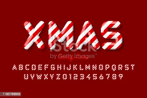 Christmas candy cane font, alphabet letters and numbers, vector illustration