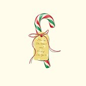 Christmas candy cane with red striped ribbon and badge with Merry Christmas and Happy New Year text. Vector Christmas or New Year design element.