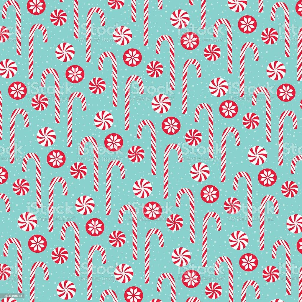 Christmas candy pattern vector art illustration