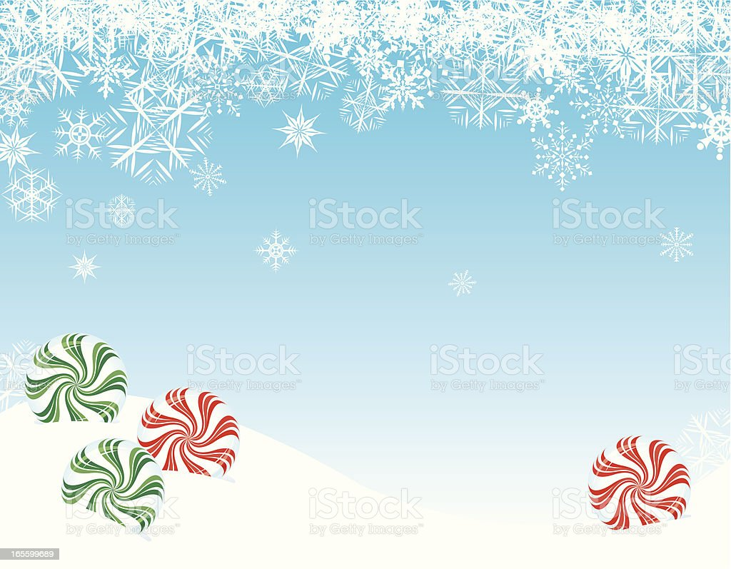 Christmas Candy with Snowflakes Background royalty-free stock vector art