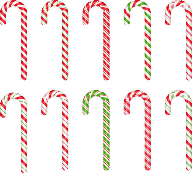 Christmas cane candy. Vector. Stick isolated on white. Christmas cane candy. Vector. Stick isolated. Decoration sugar lollipop. Holiday red background. Cartoon illustration. Striped traditional noel dessert. Realistic lollypop icon. candy silhouettes stock illustrations