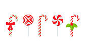 Candy cane. Vector. Christmas stick and round swirl candies icon. Peppermint lollipop symbol isolated on white background in flat design. Cartoon illustration. Striped traditional noel desserts.