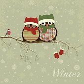 Christmas card a branch with owls