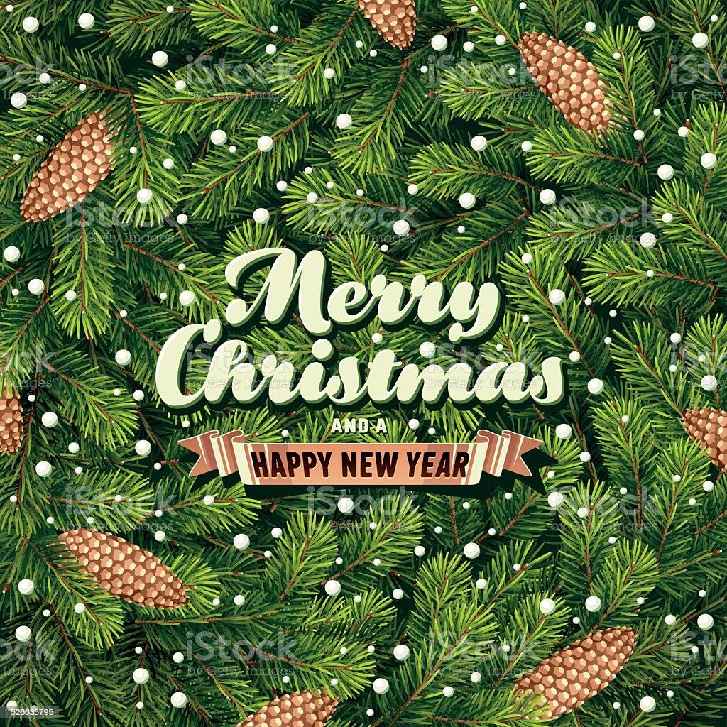 Weihnachtskarte mit Kiefer Zweige – Vektorgrafik