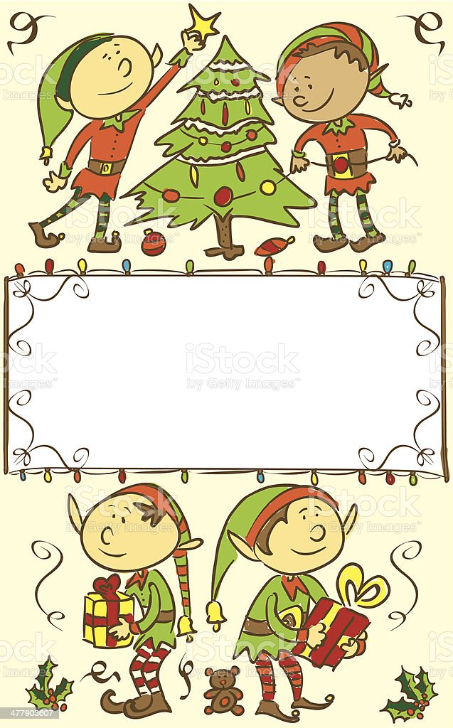 Christmas card background with elves royalty-free stock vector art