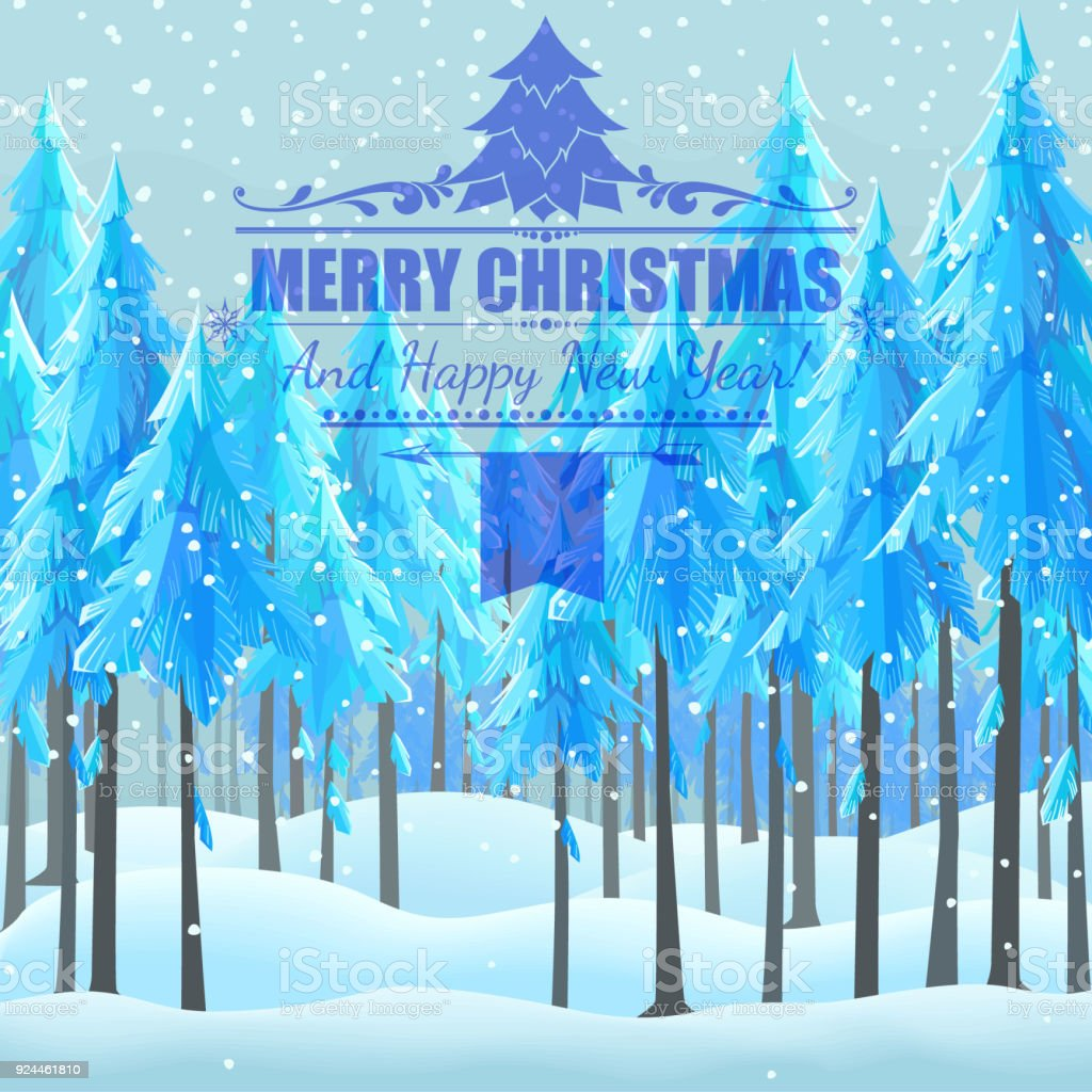 christmas card background with firtrees. vector art illustration