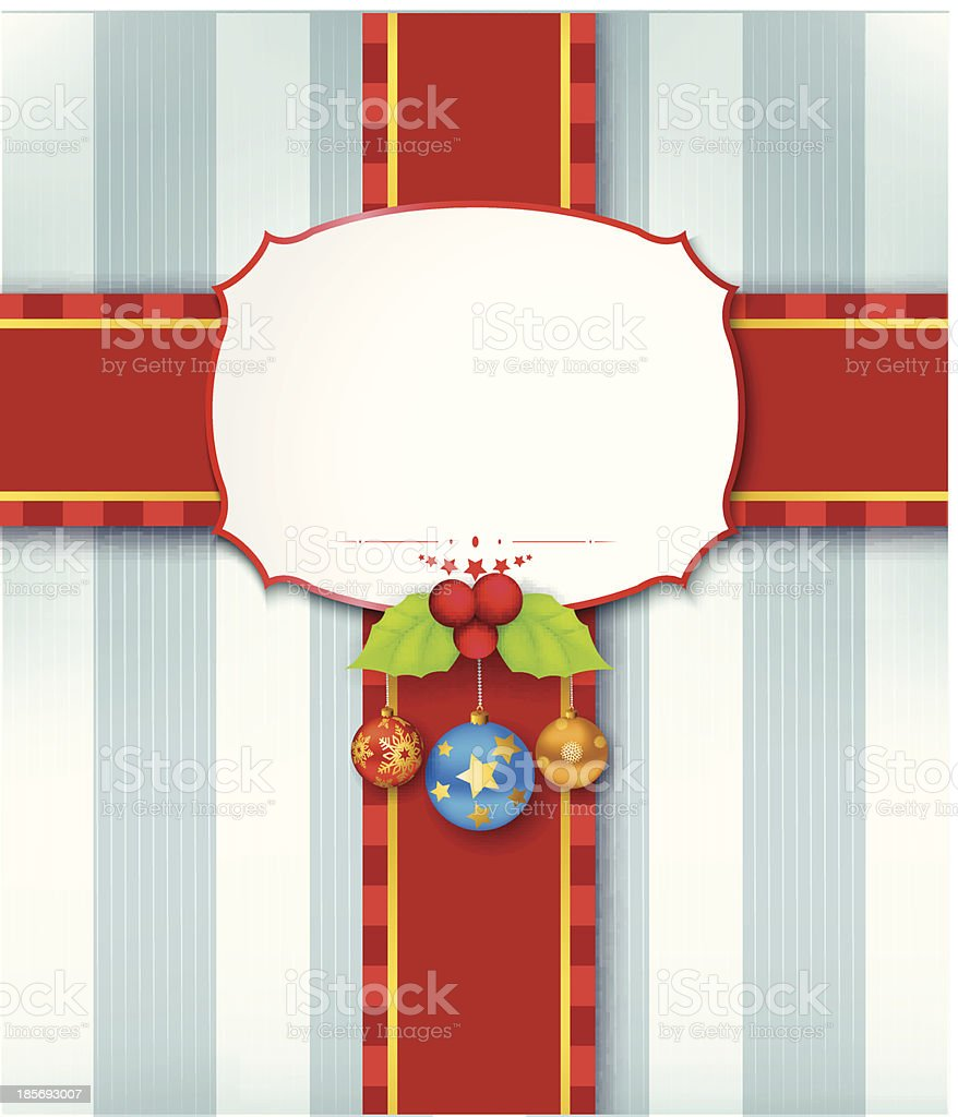 Christmas card background with ribbon royalty-free stock vector art