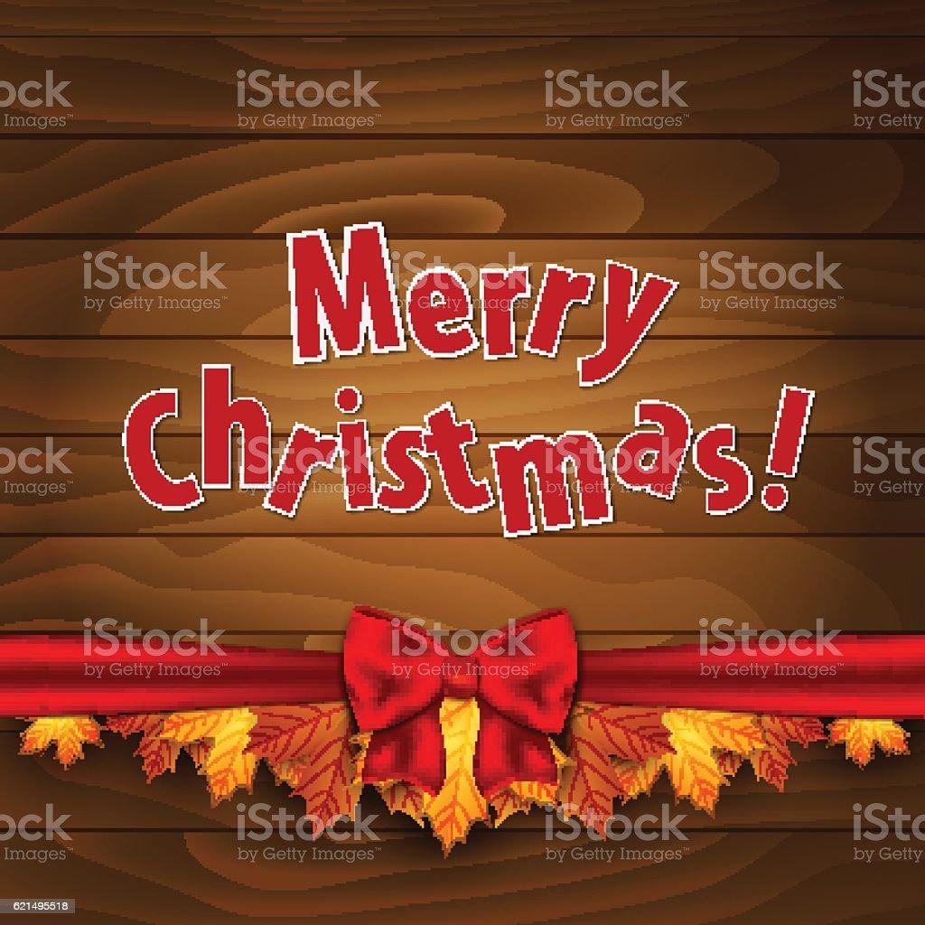 Christmas card. Border of autumn maples leaves decorated with a christmas card border of autumn maples leaves decorated with a – cliparts vectoriels et plus d'images de automne libre de droits