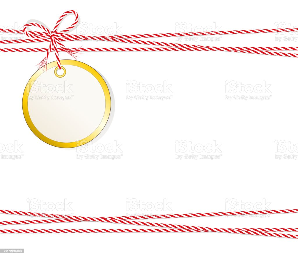 Christmas Card Christmas Ball Gift Label With Golden Edging And Cord ...