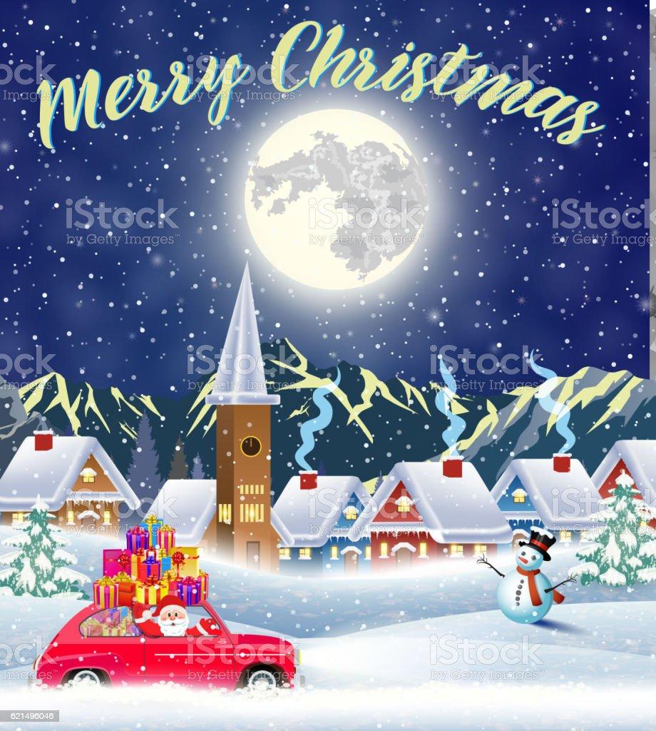 Christmas card design of car with tree on the top Lizenzfreies christmas card design of car with tree on the top stock vektor art und mehr bilder von altertümlich