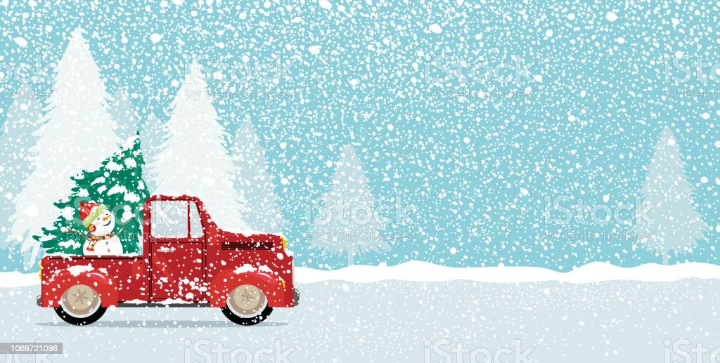 Christmas card design of xmas tree and cute snowman on vintage car truck with copy space vector - Tree images free download ...