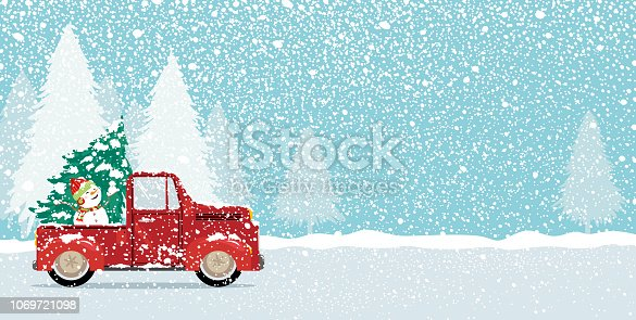 istock Christmas card design of xmas tree and cute snowman on vintage car truck with copy space vector illustration 1069721098