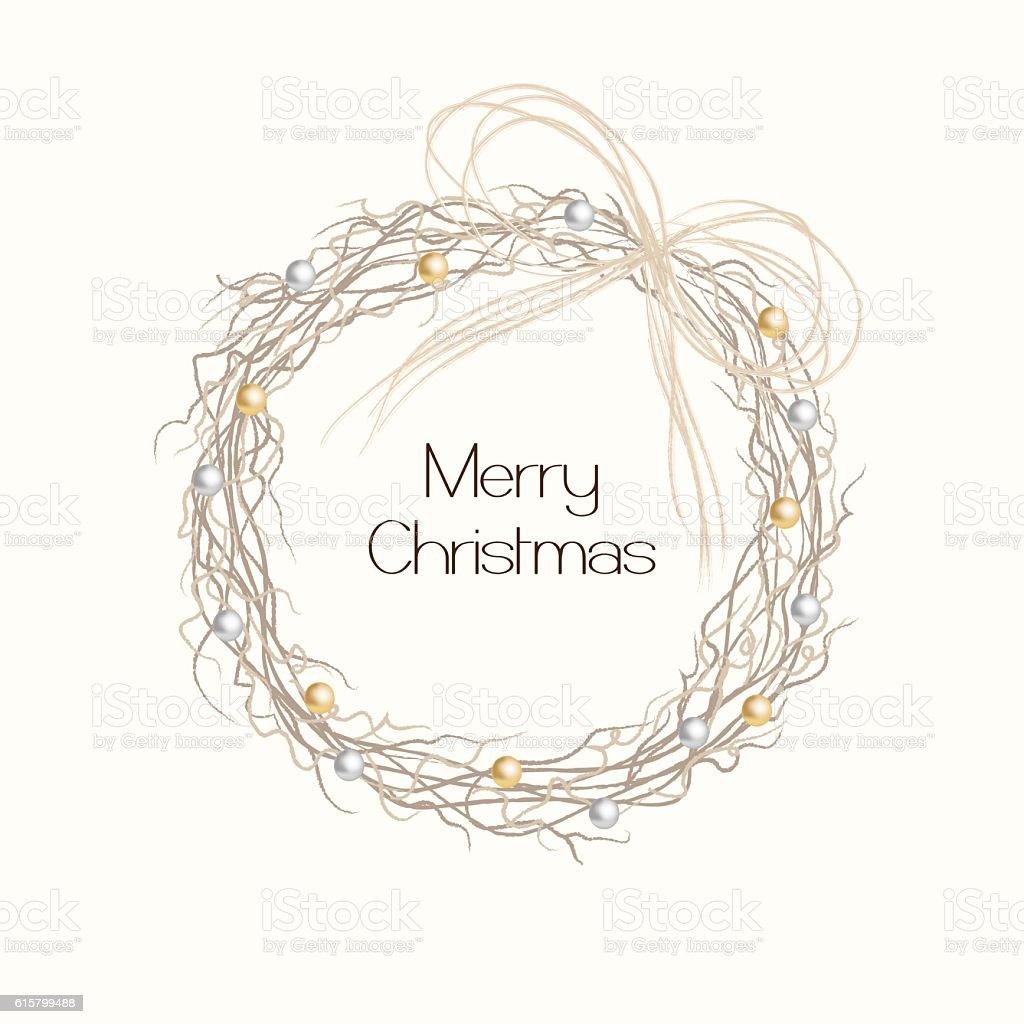 Christmas Card Design Rustic Wreath Stock Vector Art More Images