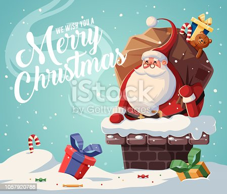 istock Christmas card design template with santa claus 1057920788
