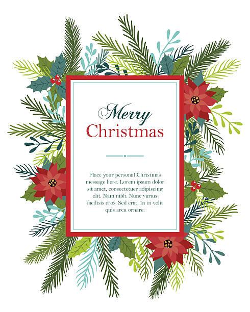Christmas card design with flowers and fir. - ilustración de arte vectorial