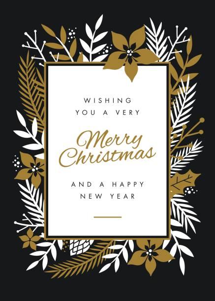 ilustraciones, imágenes clip art, dibujos animados e iconos de stock de diseño de tarjeta de navidad con flores. - marcos de festividades y de temporada