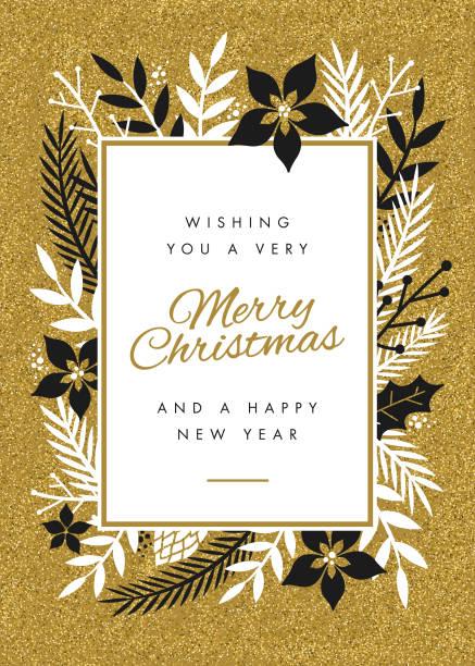 Diseño de tarjeta de Navidad con flores. - ilustración de arte vectorial