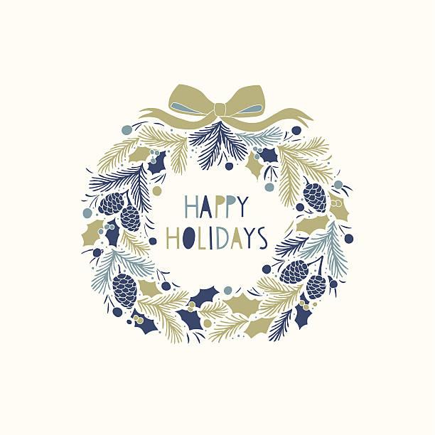 クリスマスカードデザインにハッピーホリデー - ホリデーシーズンと季節のフレーム点のイラスト素材/クリップアート素材/マンガ素材/アイコン素材