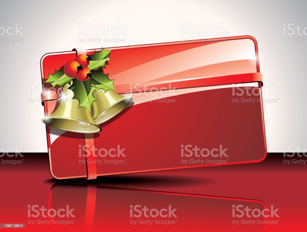 Christmas card design with holly and bells on red background. royalty-free stock vector art