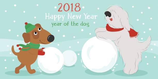 Christmas card. Dogs with snowball. Christmas card with cute cartoon dogs in hats and scarves with snow ball. Vector illustration. bobtail squid stock illustrations