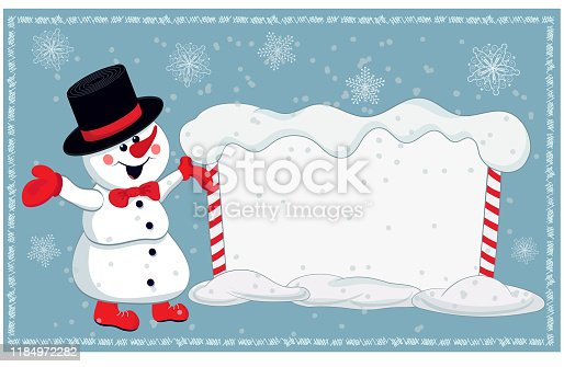 Christmas card for invitation or congratulation with a cheerful snowman and snowy billboard.