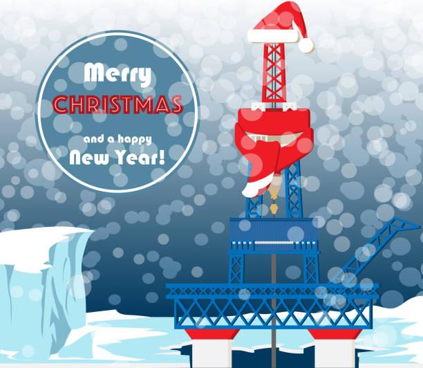 weihnachtskarte für öl und gas - forschungsurlaub stock-grafiken, -clipart, -cartoons und -symbole