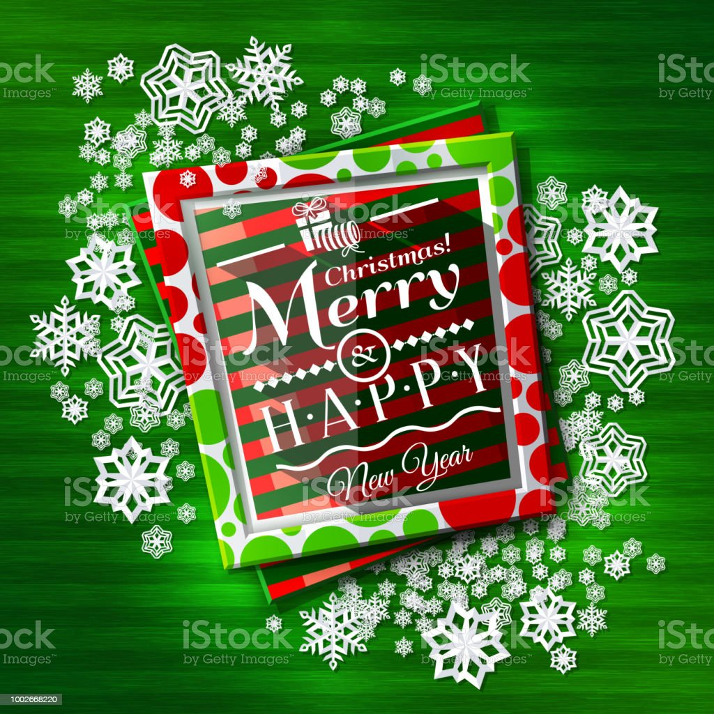 christmas card frames with colorful textures and wishing text paper snowflakes on green background