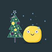 Christmas card. Funny emoji character. Vector flat style.