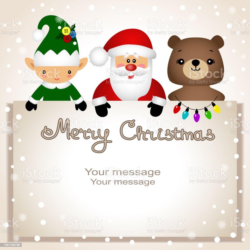 Christmas card. Funny postcard with Christmas Elf, bear and Santa. vector art illustration