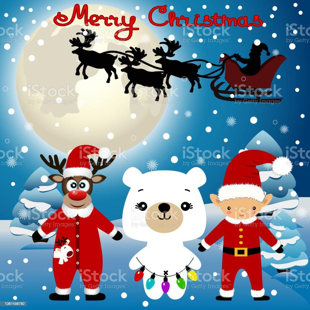 Christmas card. Funny postcard with Christmas Elf, Christmas reindeer, Santa and bear. vector art illustration