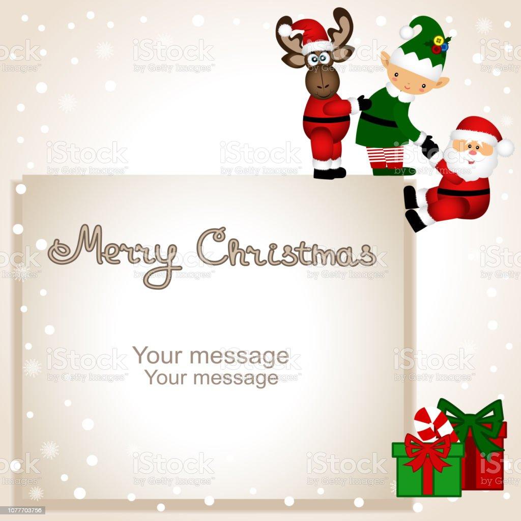 Christmas card. Funny postcard with Christmas Elf, Christmas reindeer and Santa Claus.