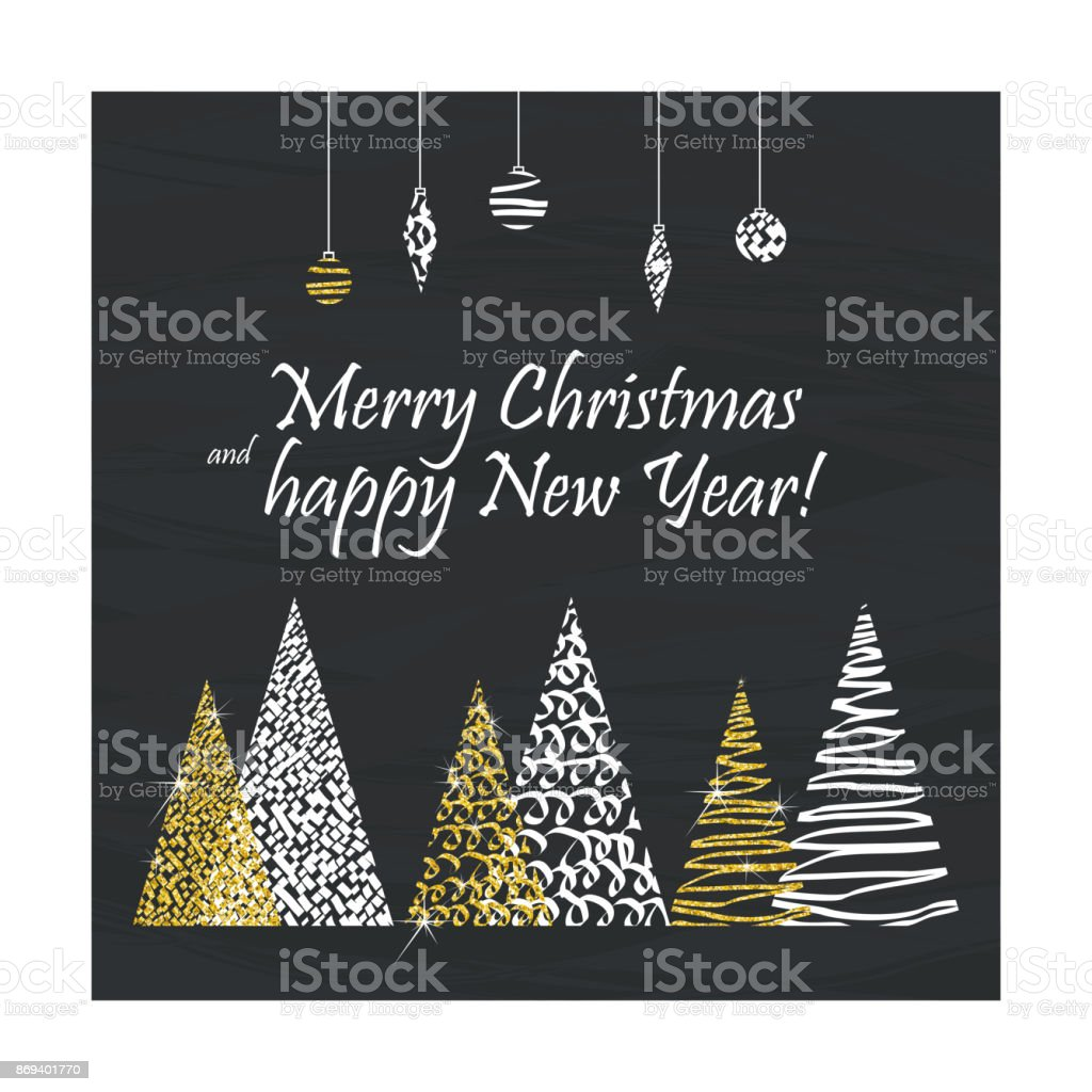 christmas card gold trees vector art illustration