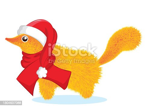 istock Christmas card. Gopher in santa hat and red scarf. Vector illustration. 1304637088