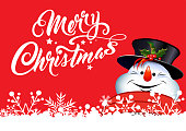 Christmas card. Handwritten inscription Merry Christmas. Happy Snowman on red background. Vector image